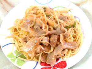 味付けカルビ肉で簡単パスタ