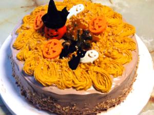 南瓜のシフォン風デコスポンジケーキ