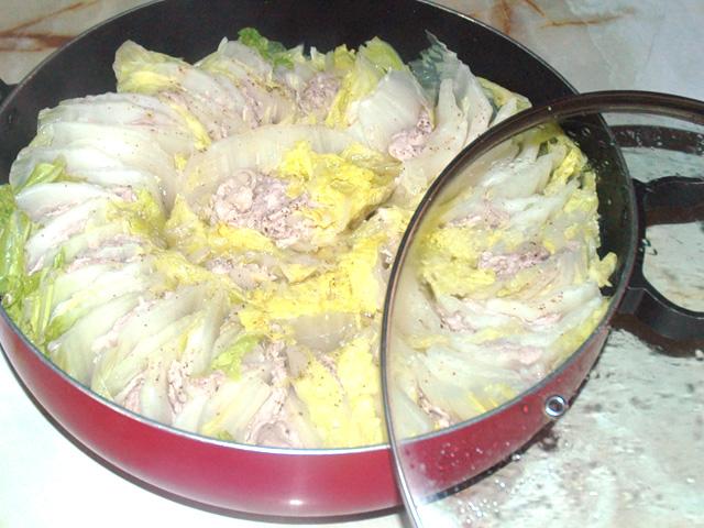 白菜と豚こまのミルフィーユ鍋