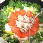 大根と豚こまの味噌ヒラヒラ鍋