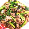 豚こまと小松菜のオイスター炒め