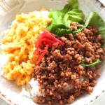 ひき肉と卵のカラフルそぼろご飯