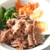 豚こまと夏野菜のビビンバ風丼