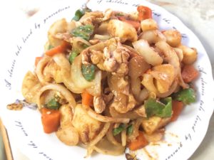 豚こまと根菜のカレールー炒め